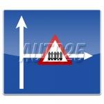 Presemnalizarea unui loc periculos, o intersectie sau o restrictie pe un drum lateral